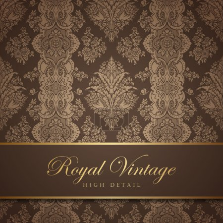 Photo for Vintage wallpaper design. Flourish background. Floral pattern. Wedding card classic vector design template. Editable. - Royalty Free Image