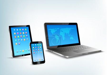 Illustration pour Appareils 3D abstraits : Tablette PC, ordinateur portable, vue perspective vectorielle smartphone. Carnet, téléphone portable, pavé tactile . - image libre de droit
