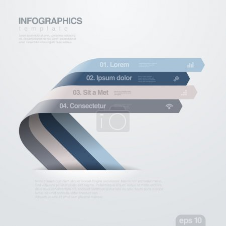 Infographics vector design template. Ribbon arrows.