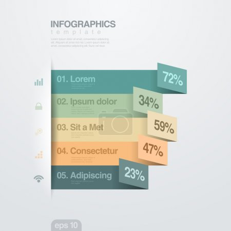 Infographics vector design template. Paper Ribbons.
