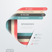 Infographics vector design template Creative trendy ribbon flat style