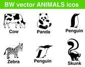 6 bw vector animals icons