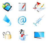 9 detailed icons collection: apple and pad with rainbow background pen and notepad lamp and notepad incoming mail e-mail sign syringe key and lock snowman lcd screen