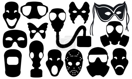 Illustration for Different types of masks isolated on white - Royalty Free Image