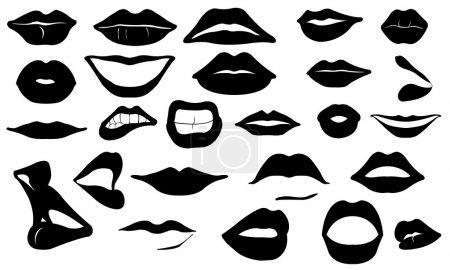 Illustration for Lips set isolated on white - Royalty Free Image