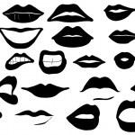Lips set isolated on white...