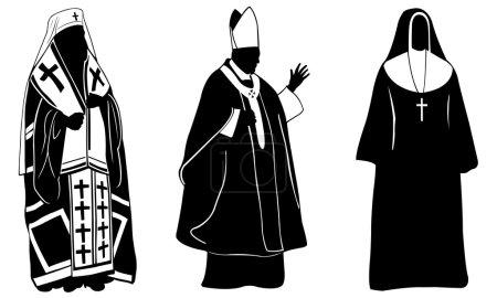 Illustration pour Ensemble de religieux différents - image libre de droit