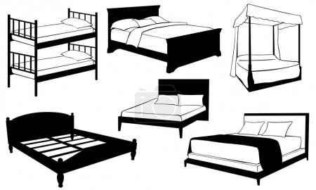 Illustration for Set of different beds isolated on white - Royalty Free Image