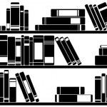 Books on shelves illustration...