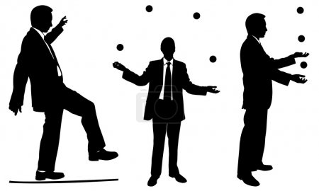 Set of businessmen juggling and walking on rope...