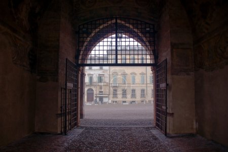 Gateway in Palazzo Ducale at winter, Mantua, Italy...