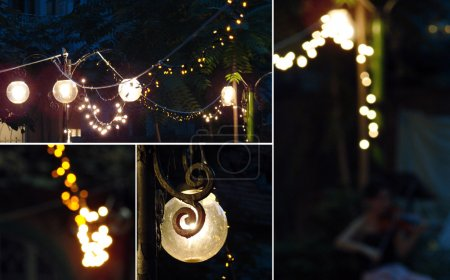 Beautiful garden in the night with old lamps