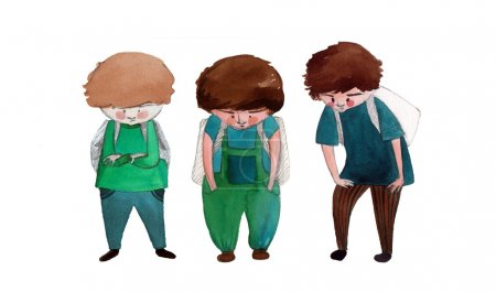 illustrated cute little boys