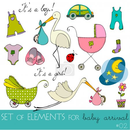 cute baby arrival elements