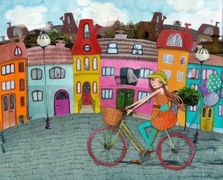 Photo pour Illustré belle rue avec des bâtiments colorés et fille sur vélo - image libre de droit