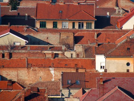Photo for Urban scene across built up area showing roof tops - Royalty Free Image