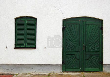 Detail of beautiful rustic house facade