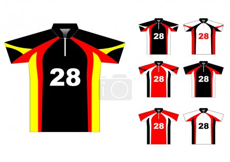 Vector sport jersey with color variations