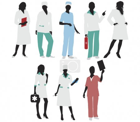 Illustration for Doctor girls silhouettes illustration - Royalty Free Image