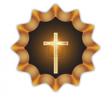 Religious cross label.Vector
