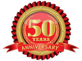50 years anniversary golden label with ribbons
