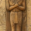 Statue of Horus with old egypt hieroglyphs carved ...