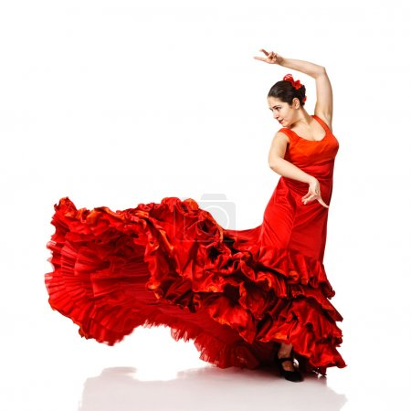 Photo for Young woman dancing flamenco. Isolated on white - Royalty Free Image