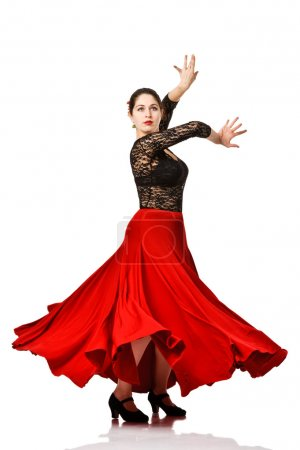 Photo for Woman gypsy flamenco dancer. Isolated - Royalty Free Image