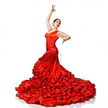 Photo for Portrait of beautiful young woman dancing flamenco isolated on white - Royalty Free Image