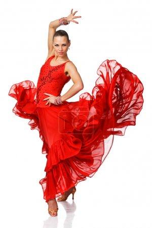 Photo pour Élégance latino danseuse fille en action. isolé sur blanc - image libre de droit