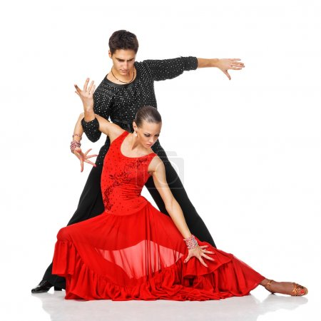 Photo pour Couple sensuel dansant la salsa. Des danseurs latino en action. Isolé sur blanc - image libre de droit