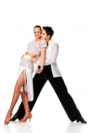 sensual salsa dancing couple. Isolated