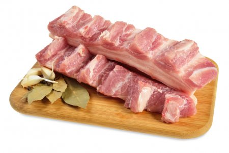 Raw bacon with ribs