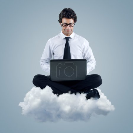 Businessman using cloud computing technology
