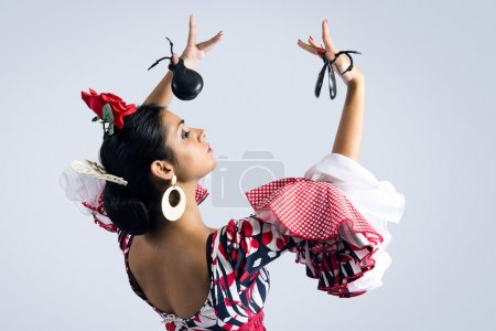 Photo for Portrait of young Flamenco dancer in beautiful dress - Royalty Free Image