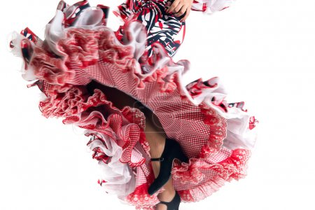 Photo for Feet detail of Flamenco dancer in beautiful dress on white background - Royalty Free Image