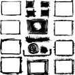 Set of grunge black and white hand drawn frames...