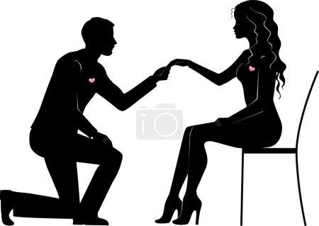 Illustration pour Illustration d'un homme fait la demande en mariage de la mariée - image libre de droit