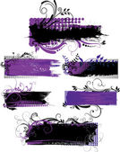 Set of grunge banners with patterns