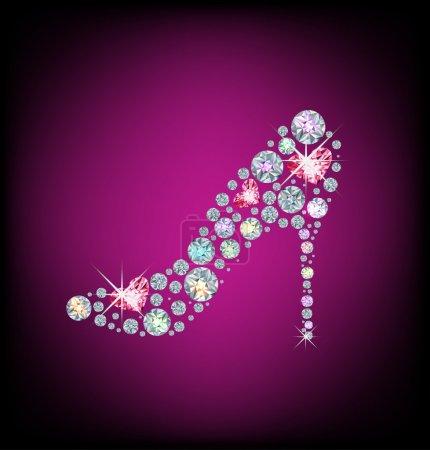 Illustration pour Dames élégantes chaussures, faites avec des diamants brillants - image libre de droit