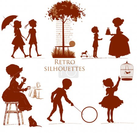 Illustration for Set of retro silhouettes Children - Royalty Free Image