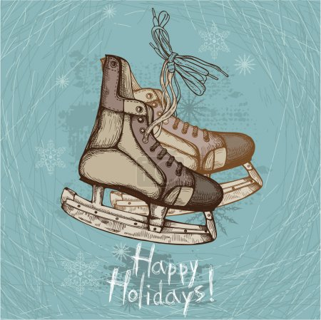 Illustration pour Illustration dessinée à la main de vieux patins rétro sur fond d'hiver - image libre de droit