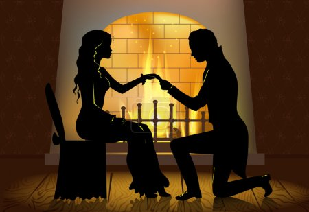 Illustration for Romantic proposal near fireplace - Royalty Free Image
