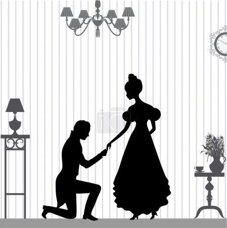 Illustration for A young man makes a proposal to the girl - Royalty Free Image