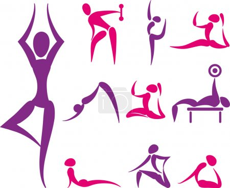 Set of hand drawn colored yoga and sport icons