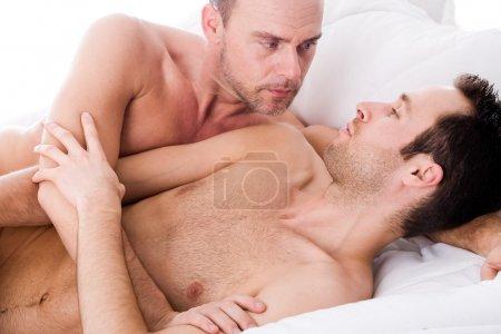 Hugging men couple