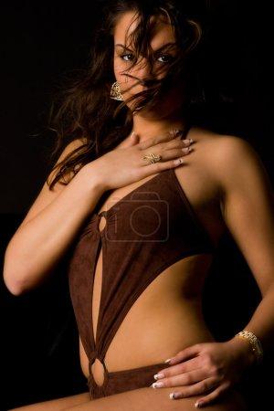 Brunette in lingerie feeling good