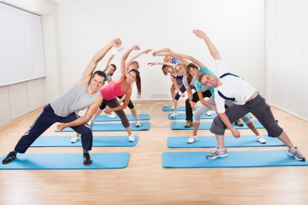 Group of doing aerobics