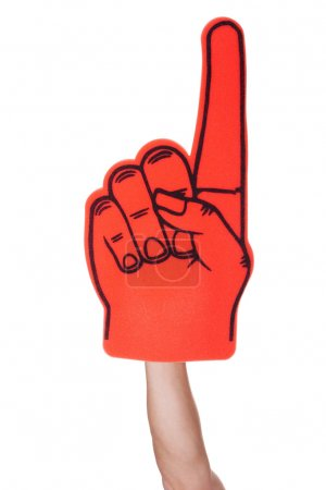 Close-up Of Hand Wearing Foam Finger Isolated On W...
