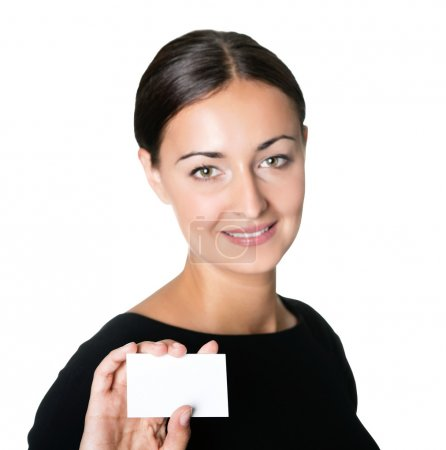 Photo for Portrait of a beautiful businesswoman holding a blank business card on white background. - Royalty Free Image